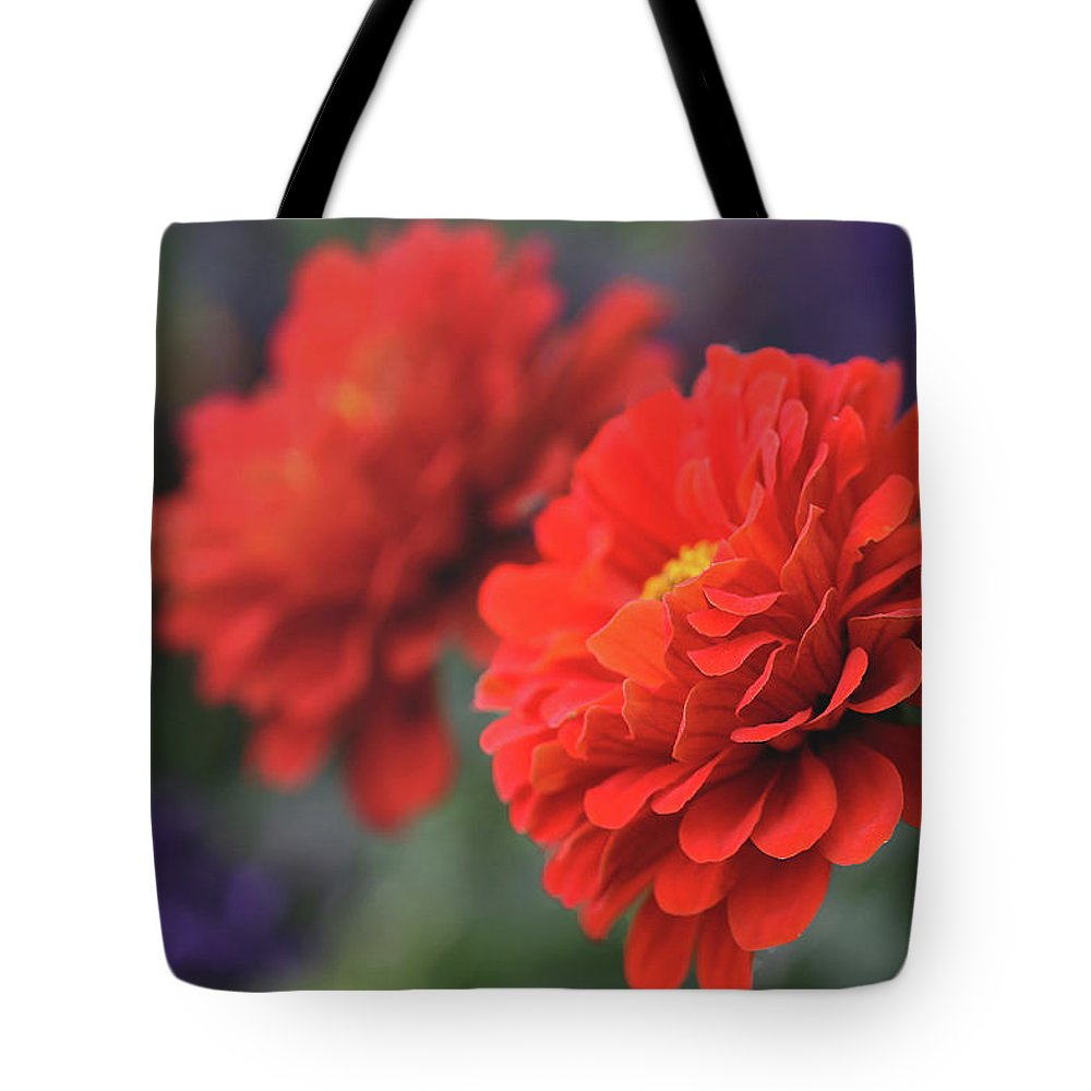 Flowers Tote Bag featuring the photograph Scarlet Zinnias by Vanessa Thomas