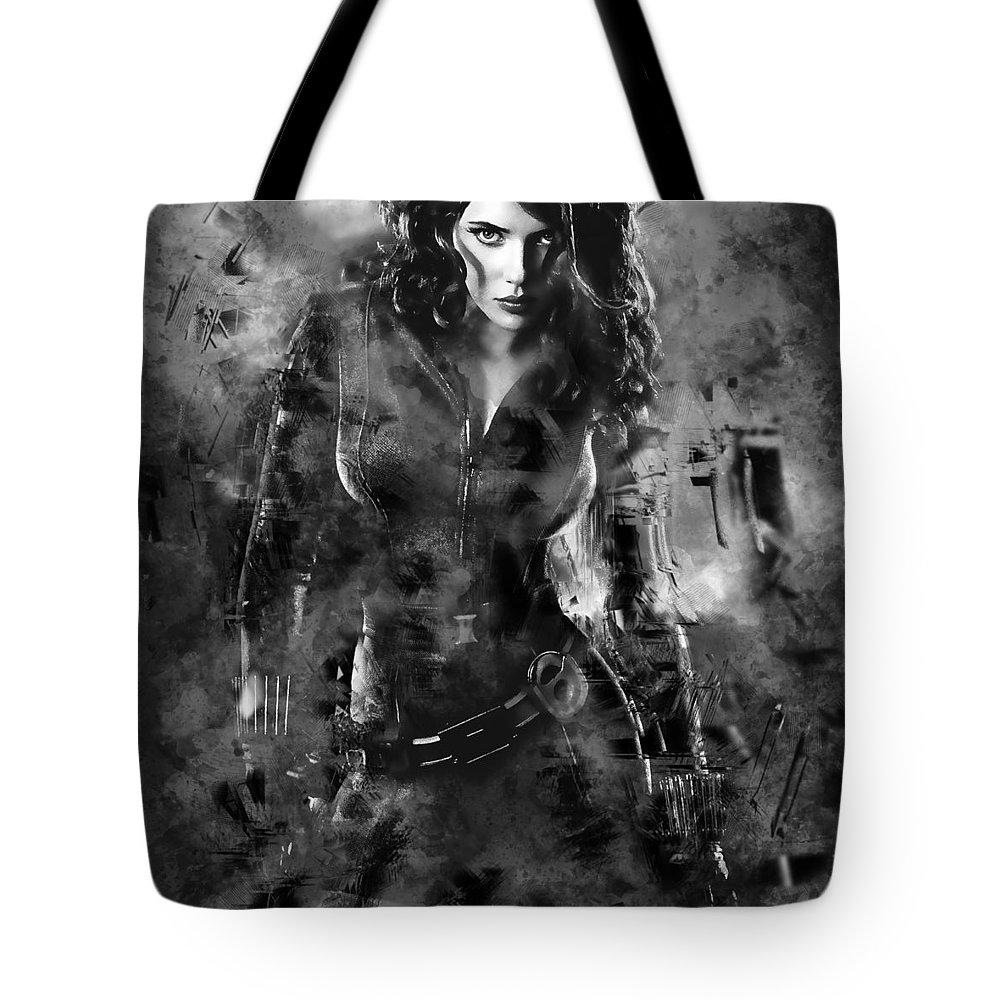 Black Widow Tote Bag featuring the mixed media Scarlett Johansson Black Widow by Love Art