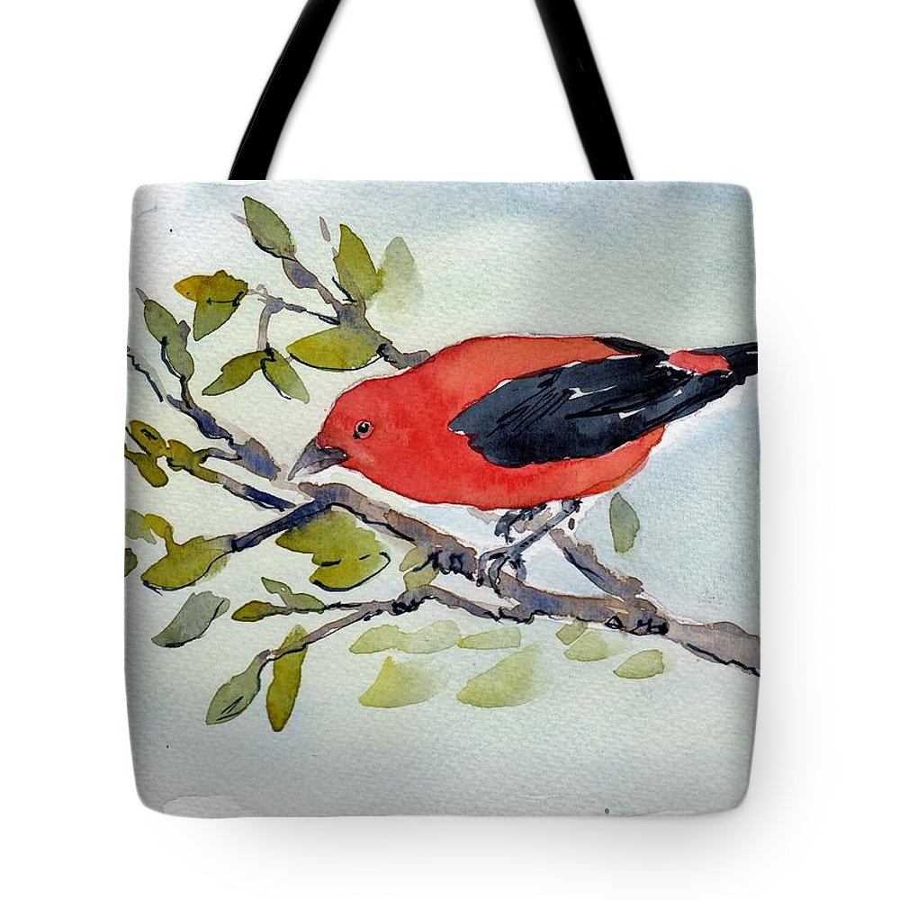 Scarlet Tanager Bird Red Black Watercolor Pen Ink Wash Tote Bag featuring the painting Scarlett by Lisa Burke
