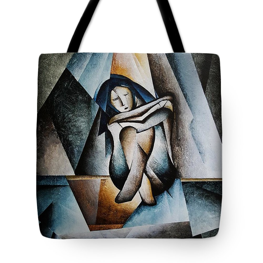Woman Sad Tote Bag featuring the painting Shattered by Brandon Allebach