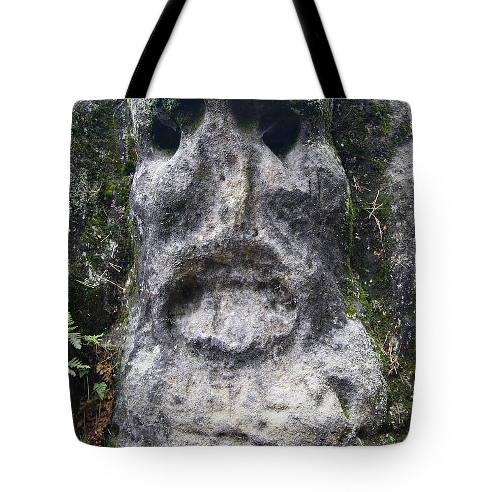 Rock Tote Bag featuring the photograph Scary Stone Head by Michal Boubin