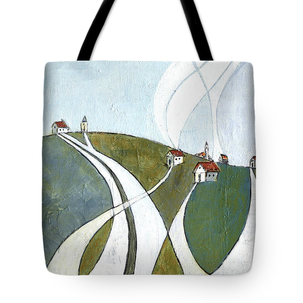 Painting Tote Bag featuring the painting Scattered Houses by Aniko Hencz