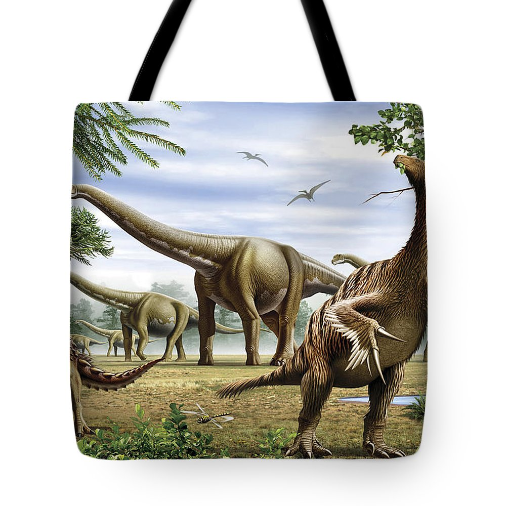 Herbivore Tote Bag featuring the digital art Scelidosaurus, Nothronychus by Mohamad Haghani