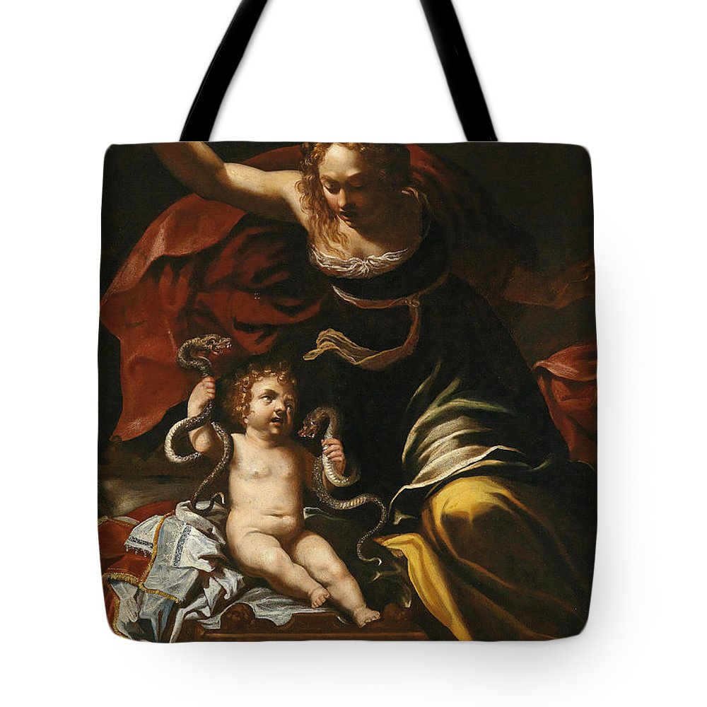 Attributed To Bernardino Mei Tote Bag featuring the painting Scene From The Childhood Of Hercules by Attributed to Bernardino Mei