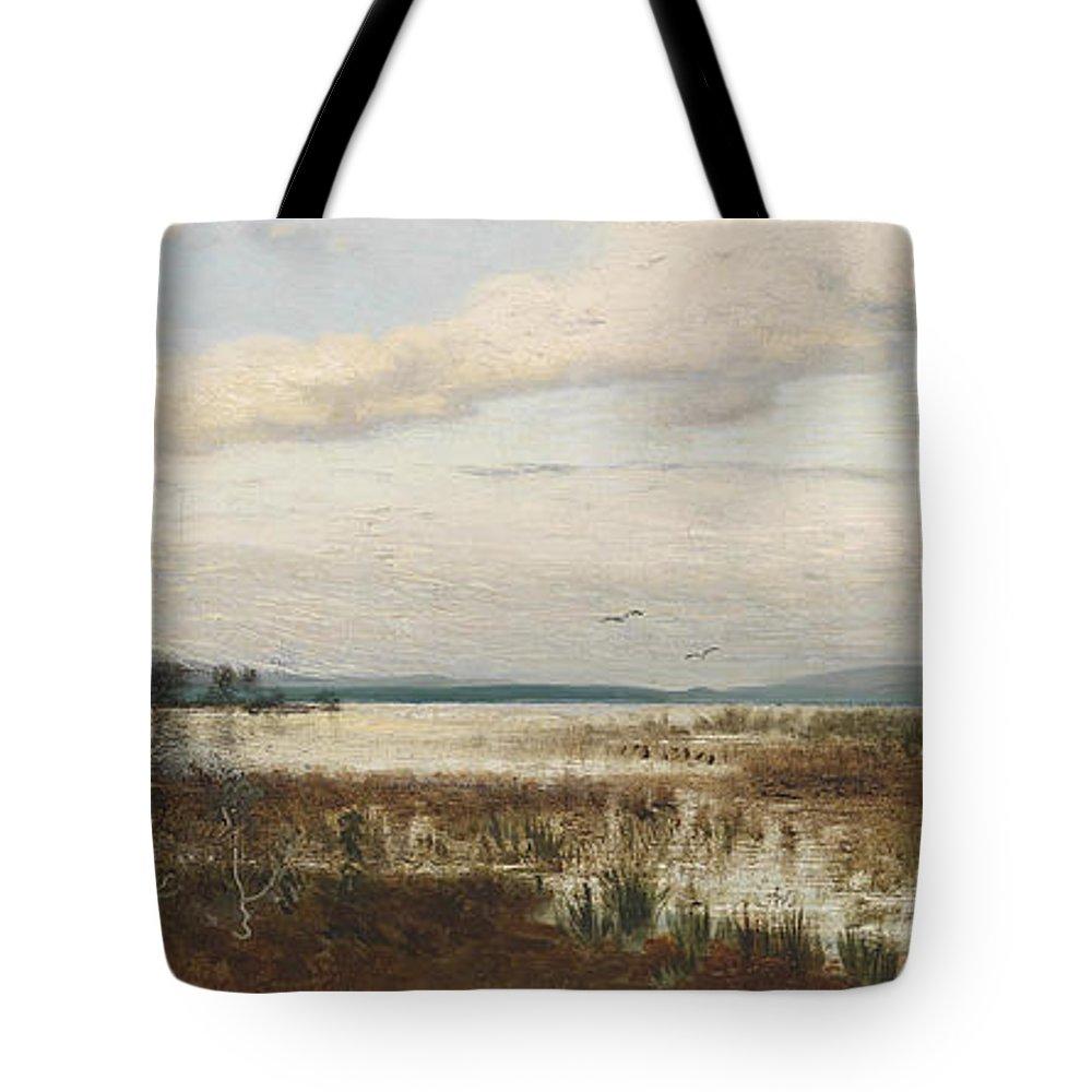 August Schaeffer Von Wienwald Tote Bag featuring the painting Scene Of Chiemsee, Moor Landscape by August Schaeffer von Wienwald