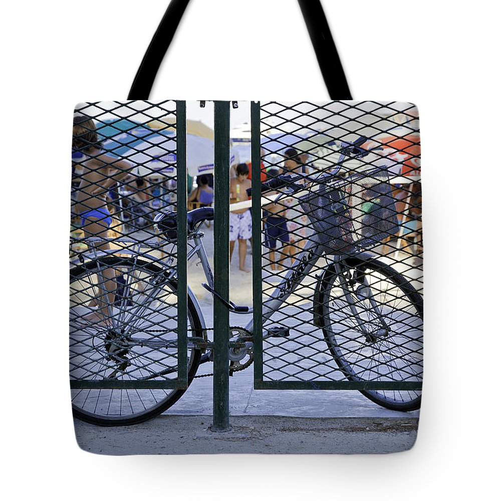 Bicycle Tote Bag featuring the photograph Scene Through The Gate by Madeline Ellis