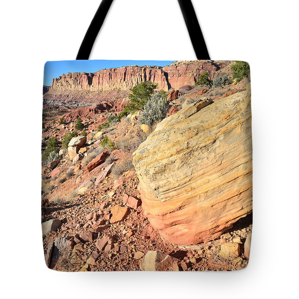 Capitol Reef National Park Tote Bag featuring the photograph Scenic Drive Boulder View by Ray Mathis