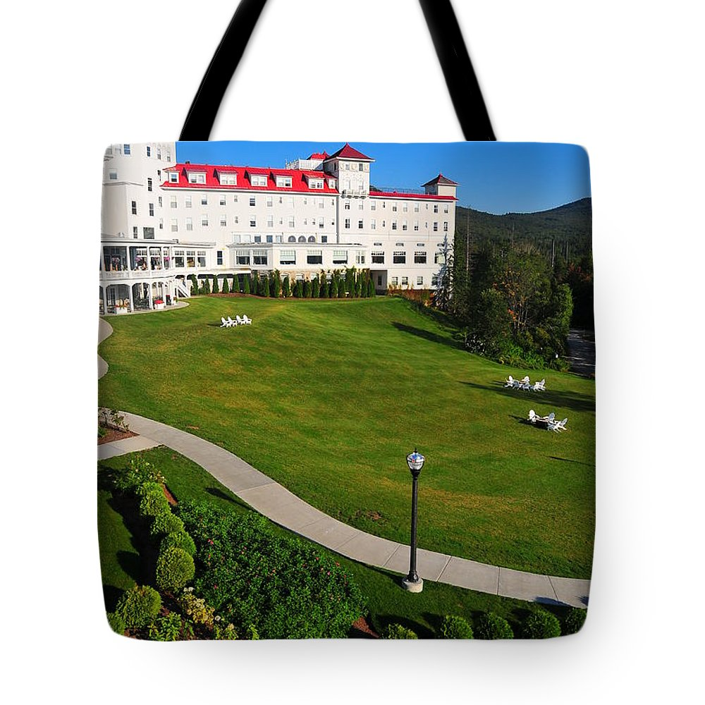 Scenic New England Resort Washington Mount Hotel Resort New Hampshire Vacation Family Fun Relax Four Season Summer Golf Hike Swim Red White Blue Foliage Flowers Colorful Peaceful Nature History Historical Speak Easy Tote Bag featuring the photograph Scenic New England by Catherine Reusch Daley