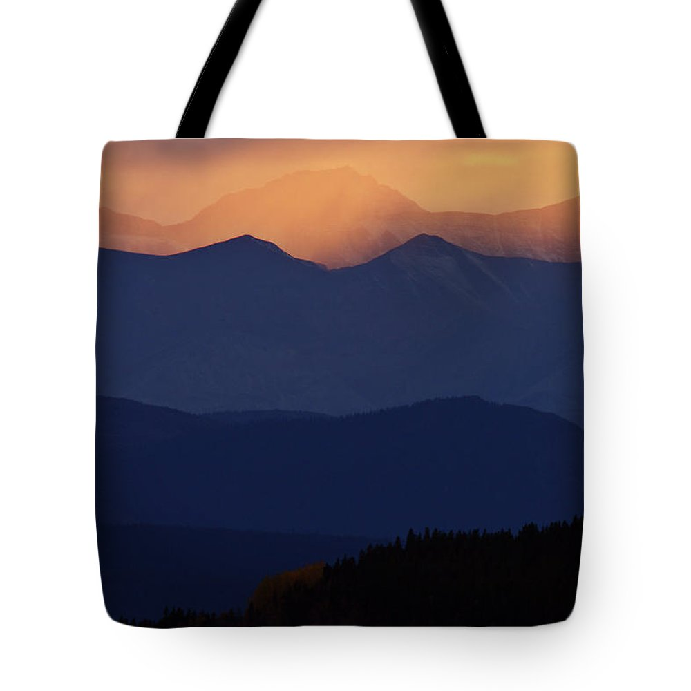 Mountains Tote Bag featuring the digital art Scenic Northern Rockies Of British Columbia by Mark Duffy