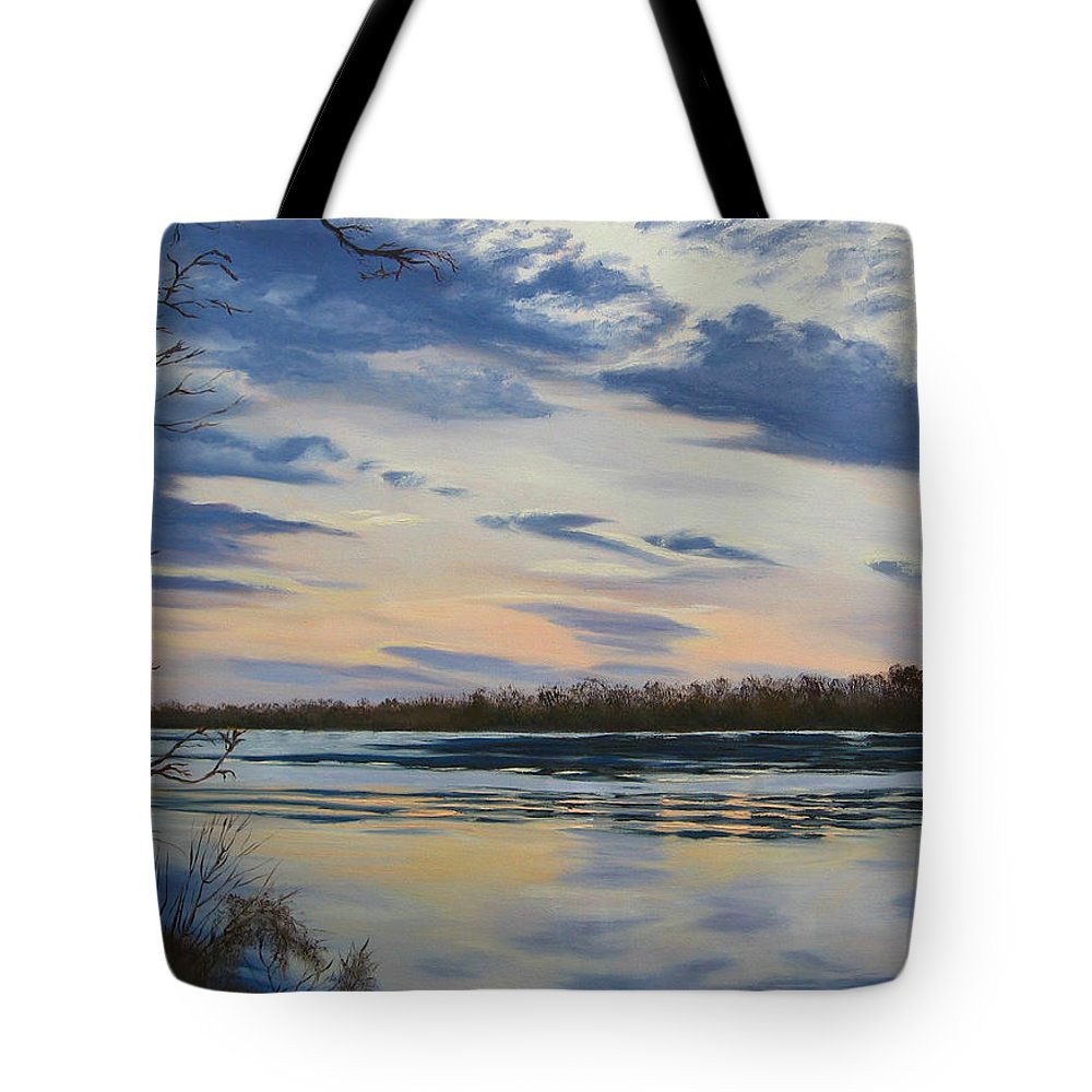 Clouds Tote Bag featuring the painting Scenic Overlook - Delaware River by Lea Novak