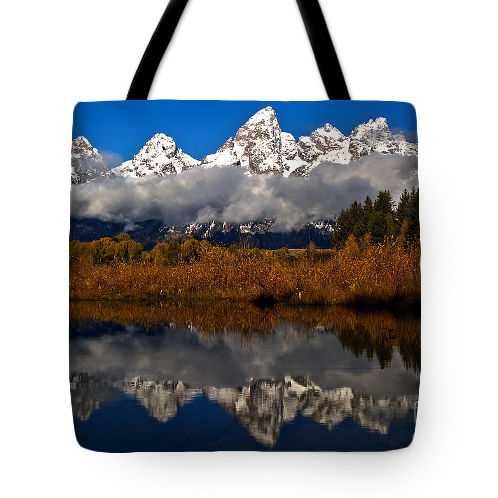 Gtnp Tote Bag featuring the photograph Scenic Teton Fall Reflections by Adam Jewell