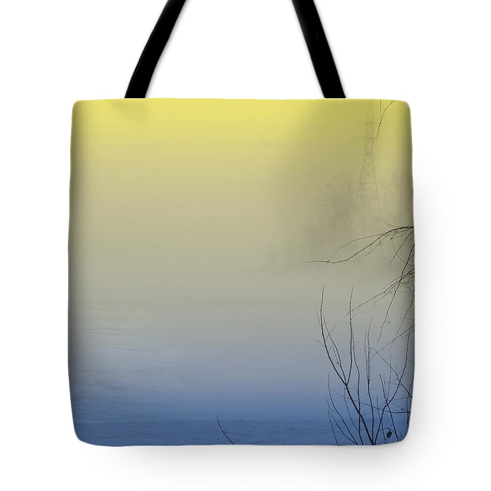 View Tote Bag featuring the photograph Scenic View In Colored Fog by Nadine Mot Mitchell