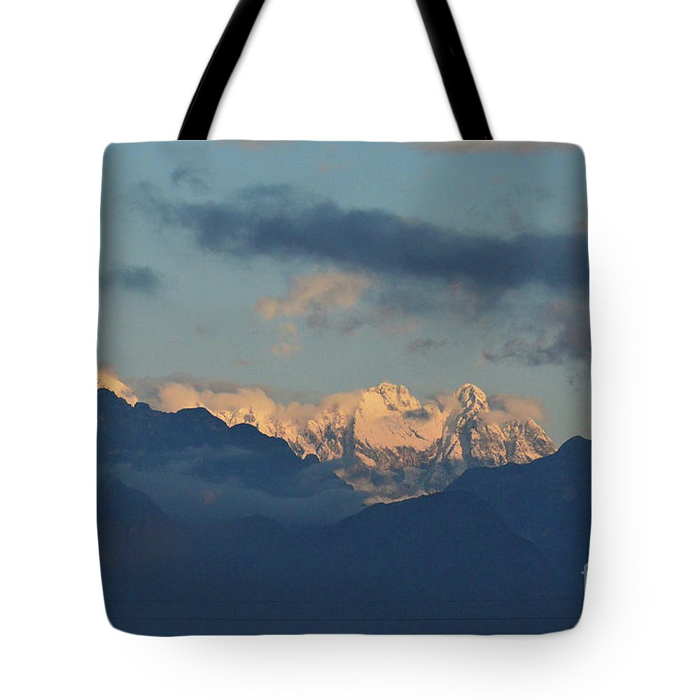 Mountains Tote Bag featuring the photograph Scenic View Of The Dolomite Mountains With Snow by DejaVu Designs