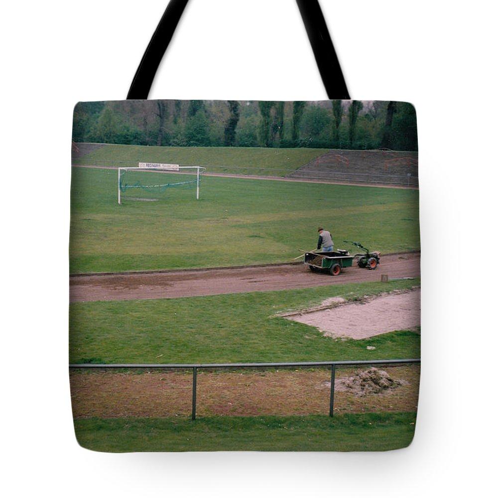 Tote Bag featuring the photograph Schalke 04 - Glueckauf-kampfbahn - East Side - April 1997 by Legendary Football Grounds