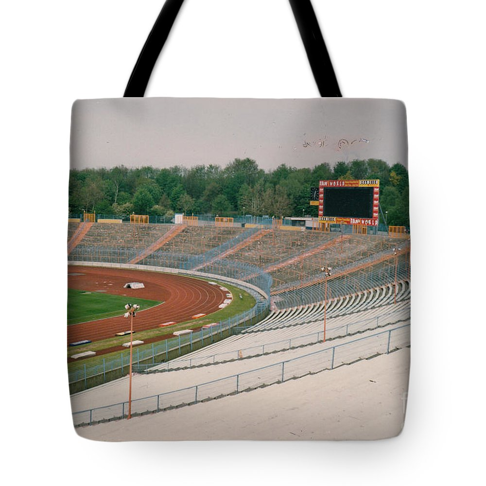 Tote Bag featuring the photograph Schalke 04 - Parkstadion - North Goal Stand 1 - April 1997 by Legendary Football Grounds