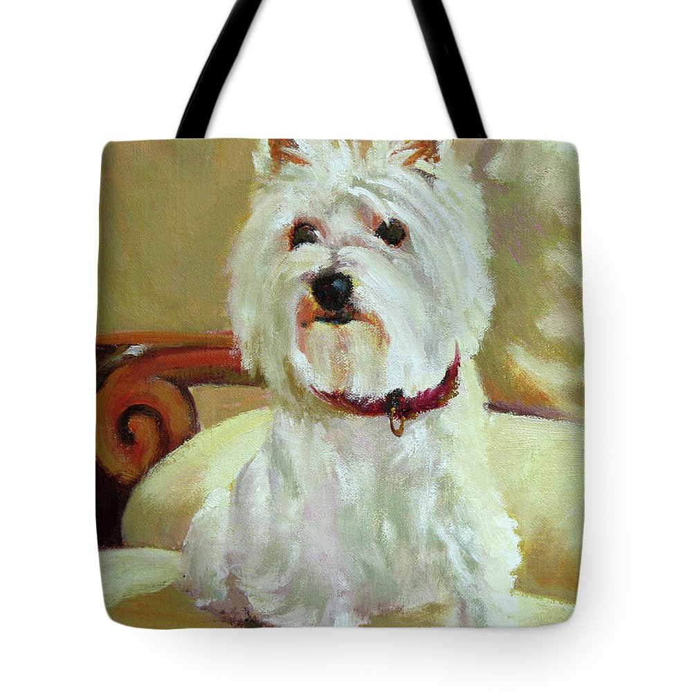 Pet Tote Bag featuring the painting Schatzie by Keith Burgess