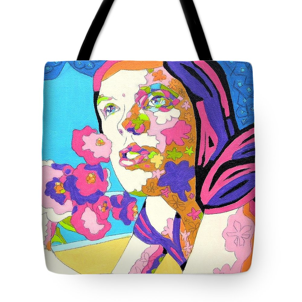 Portrait Tote Bag featuring the painting Scheherazade Or Blooming Saadness by Casoni Ibolya