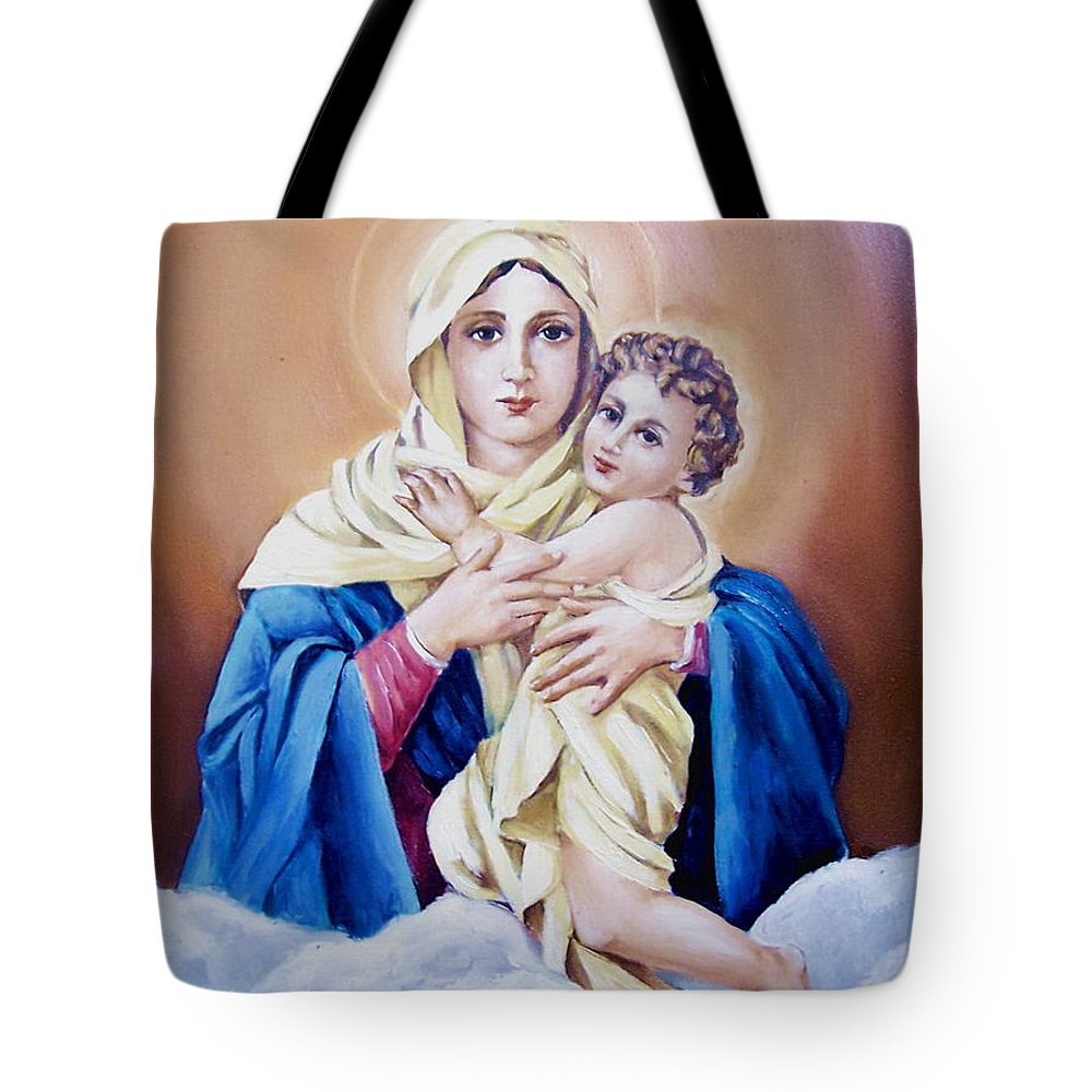 Religious Tote Bag featuring the painting Schoenstat-tribute by Natalia Tejera