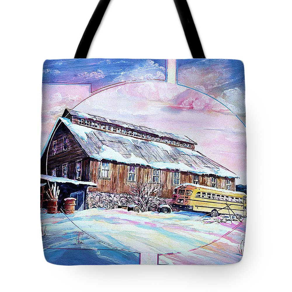 Bar Tote Bag featuring the painting School Bus And Barn by Connie Williams