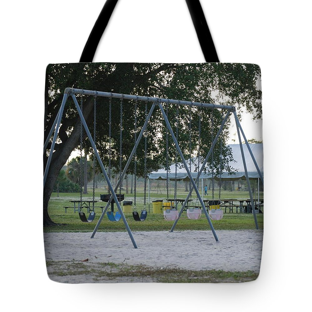 Swings Tote Bag featuring the photograph School Is In Session by Rob Hans
