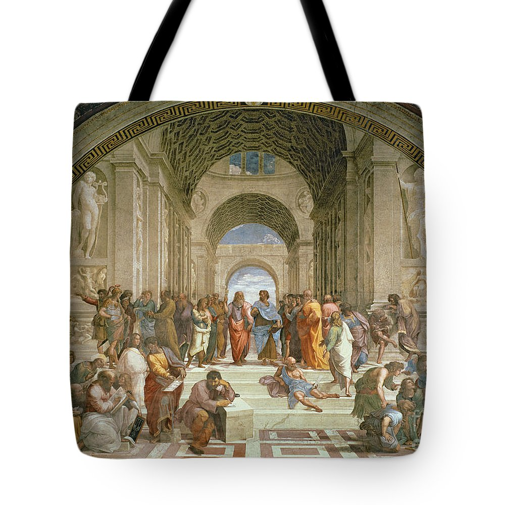 School Tote Bag featuring the painting School Of Athens From The Stanza Della Segnatura by Raphael