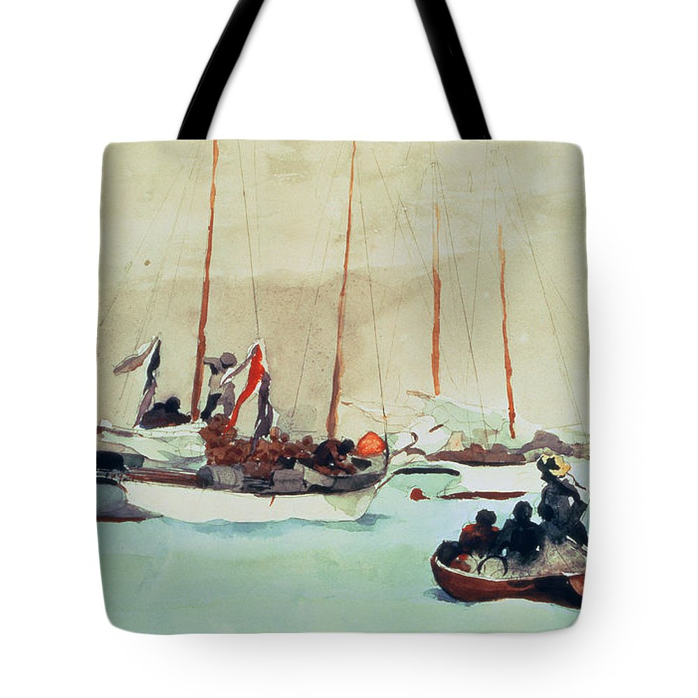 Boat Tote Bag featuring the painting Schooners At Anchor In Key West by Winslow Homer