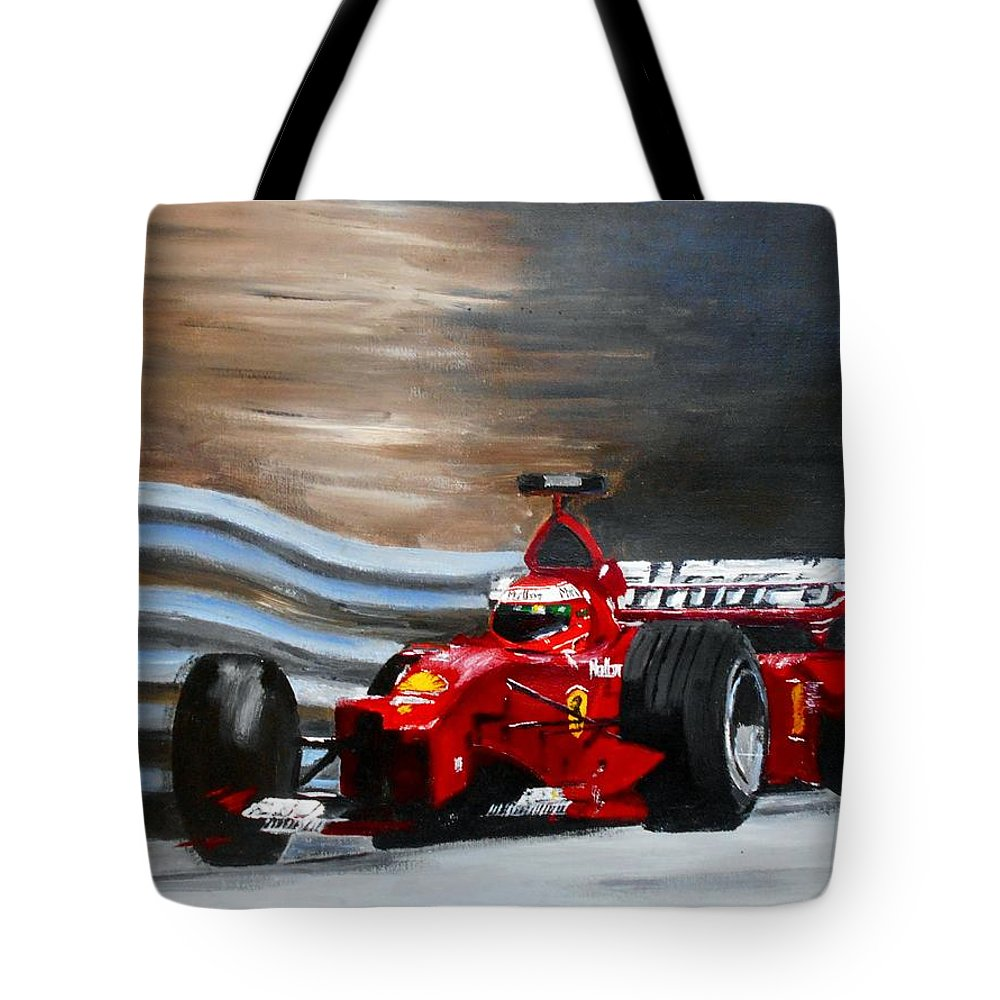 Art Tote Bag featuring the painting Schumacher Monaco by Angie Wright