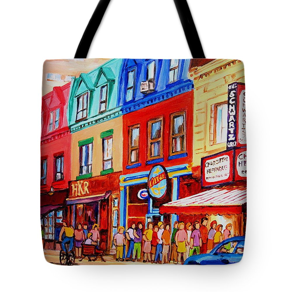 Cityscape Tote Bag featuring the painting Schwartz Lineup With Simcha by Carole Spandau