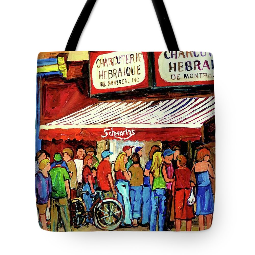 Schwartz Deli Tote Bag featuring the painting Schwartzs Deli Lineup by Carole Spandau