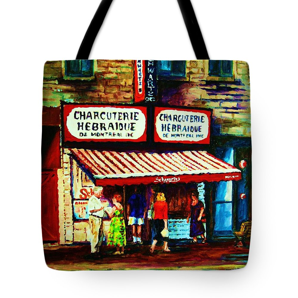 Schwartz Deli Tote Bag featuring the painting Schwartzs Famous Smoked Meat by Carole Spandau