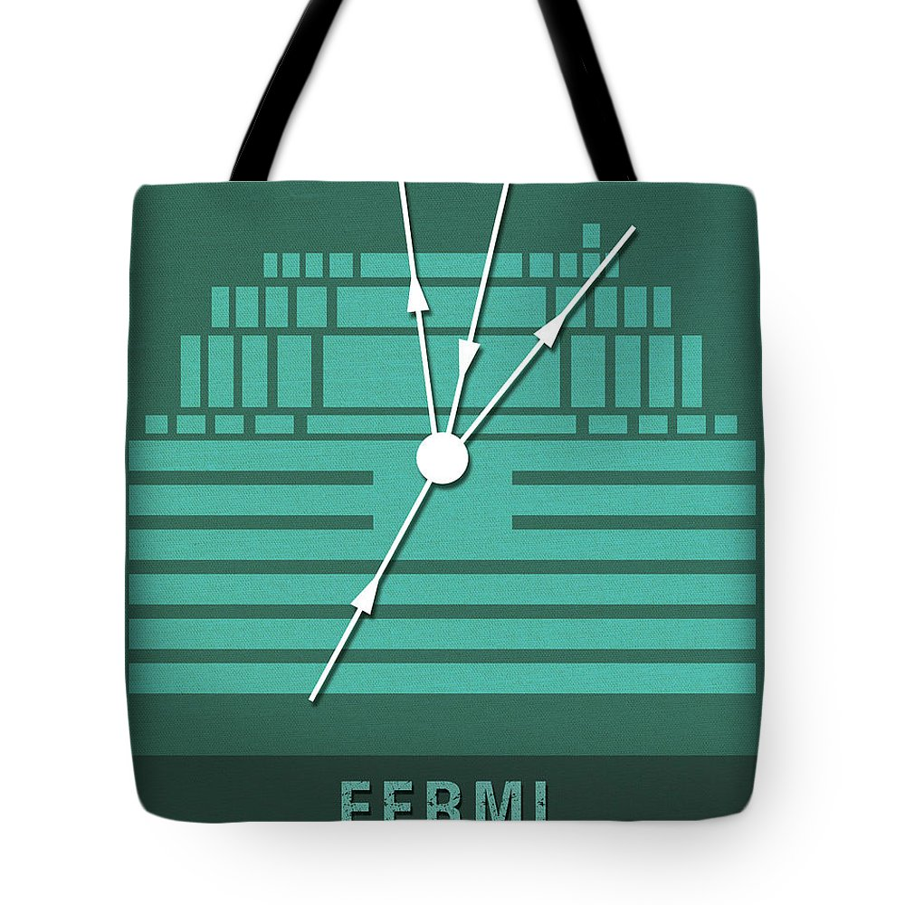 Fermi Tote Bag featuring the mixed media Science Posters - Enrico Fermi - Physicist by Studio Grafiikka