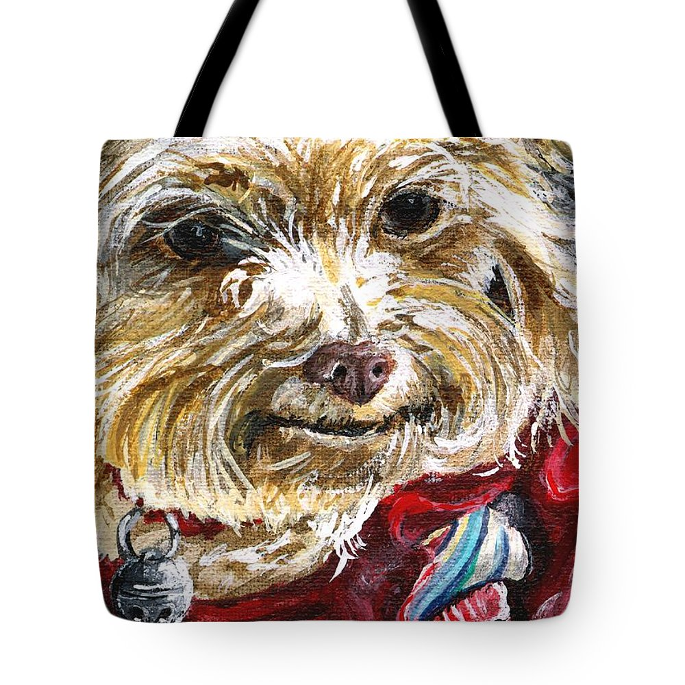 Charity Tote Bag featuring the painting Scooter From Muttville by Mary-Lee Sanders