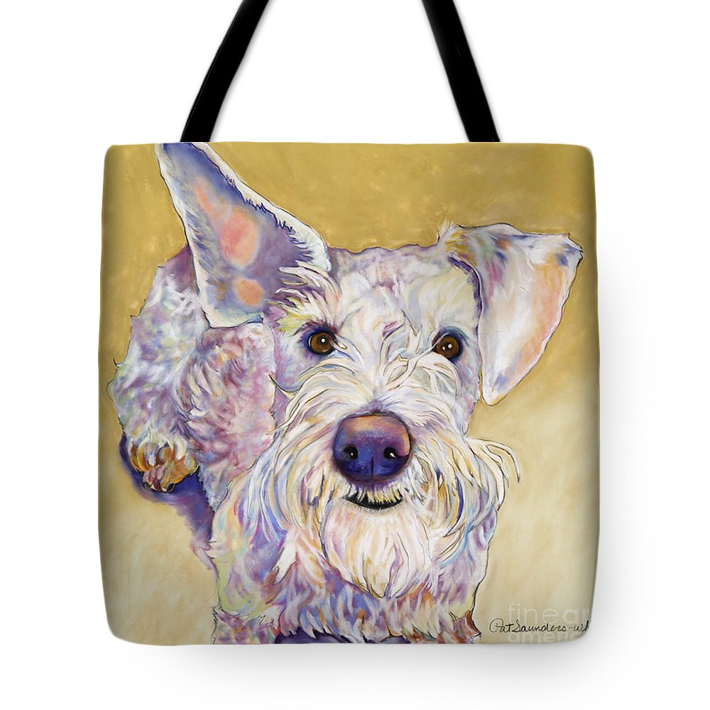 Schnauzer Tote Bag featuring the pastel Scooter by Pat Saunders-White