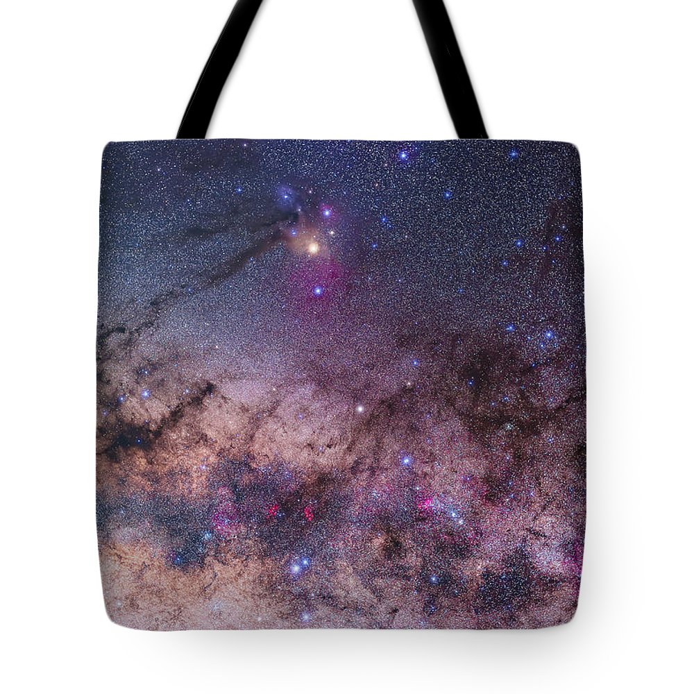 Antares Tote Bag featuring the photograph Scorpius With Parts Of Lupus And Ara by Alan Dyer