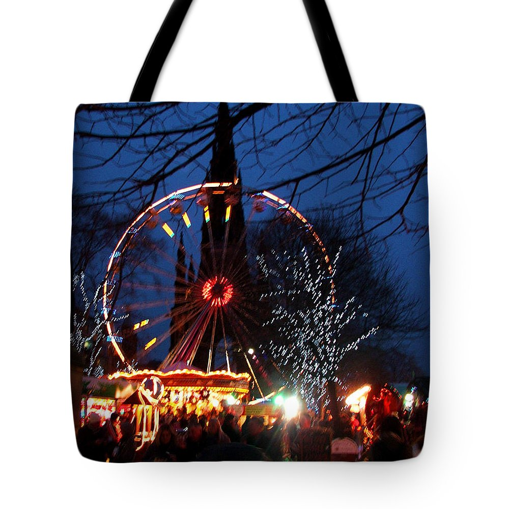 Scot Tote Bag featuring the photograph Scot Monument Christmas And Hogmanay Fair Scotland by Heather Lennox