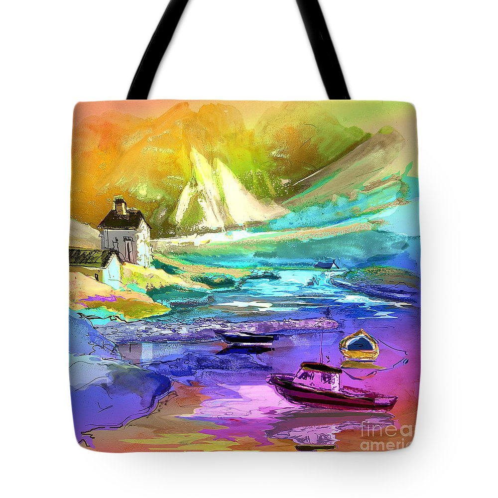 Scotland Paintings Tote Bag featuring the painting Scotland 15 by Miki De Goodaboom
