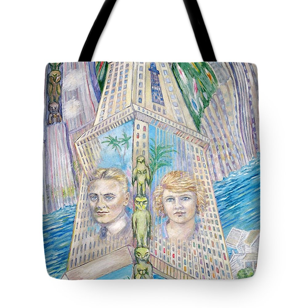 New York Fantasy Tote Bag featuring the painting Scott And Zelda In Their New York Dream Tower by Patricia Buckley
