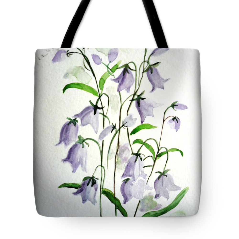 Blue Bells Hare Bells Purple Flower Flora Tote Bag featuring the painting Scottish Blue Bells by Karin Dawn Kelshall- Best