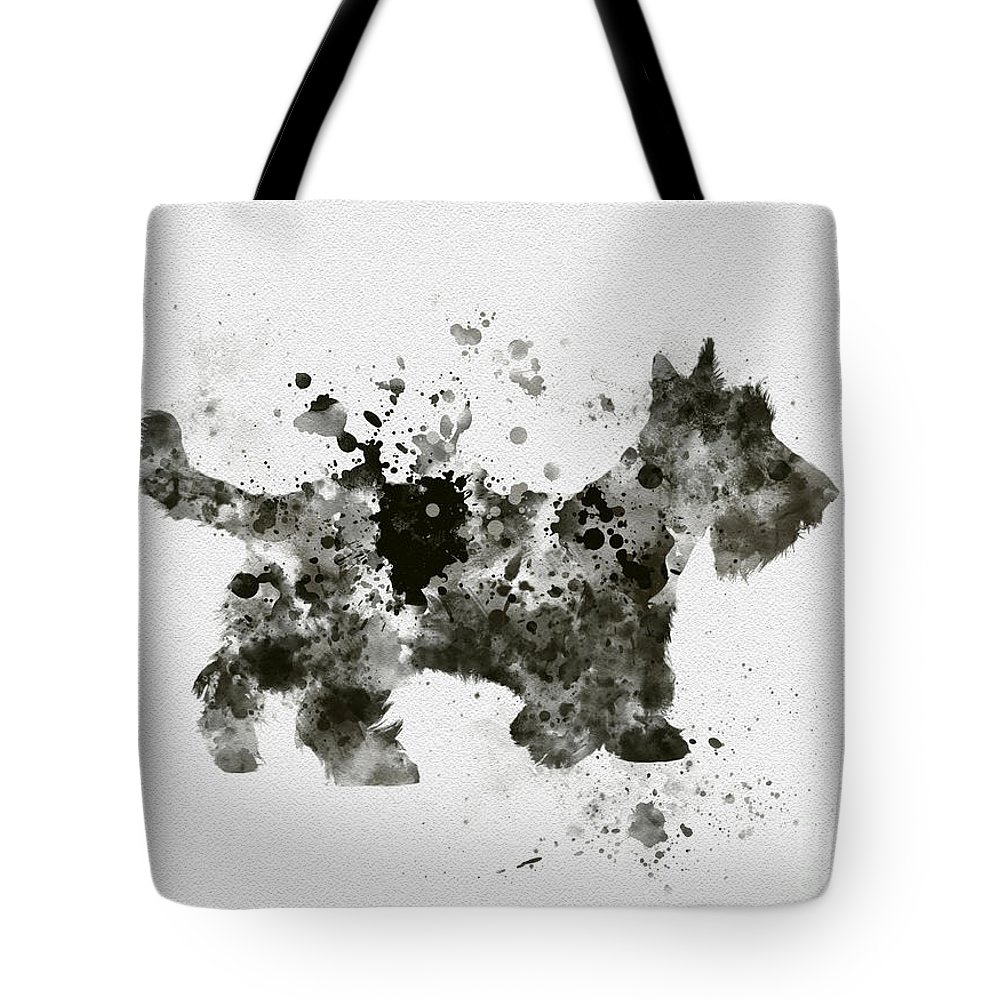 Dog Tote Bag featuring the mixed media Scottish Terrier by My Inspiration