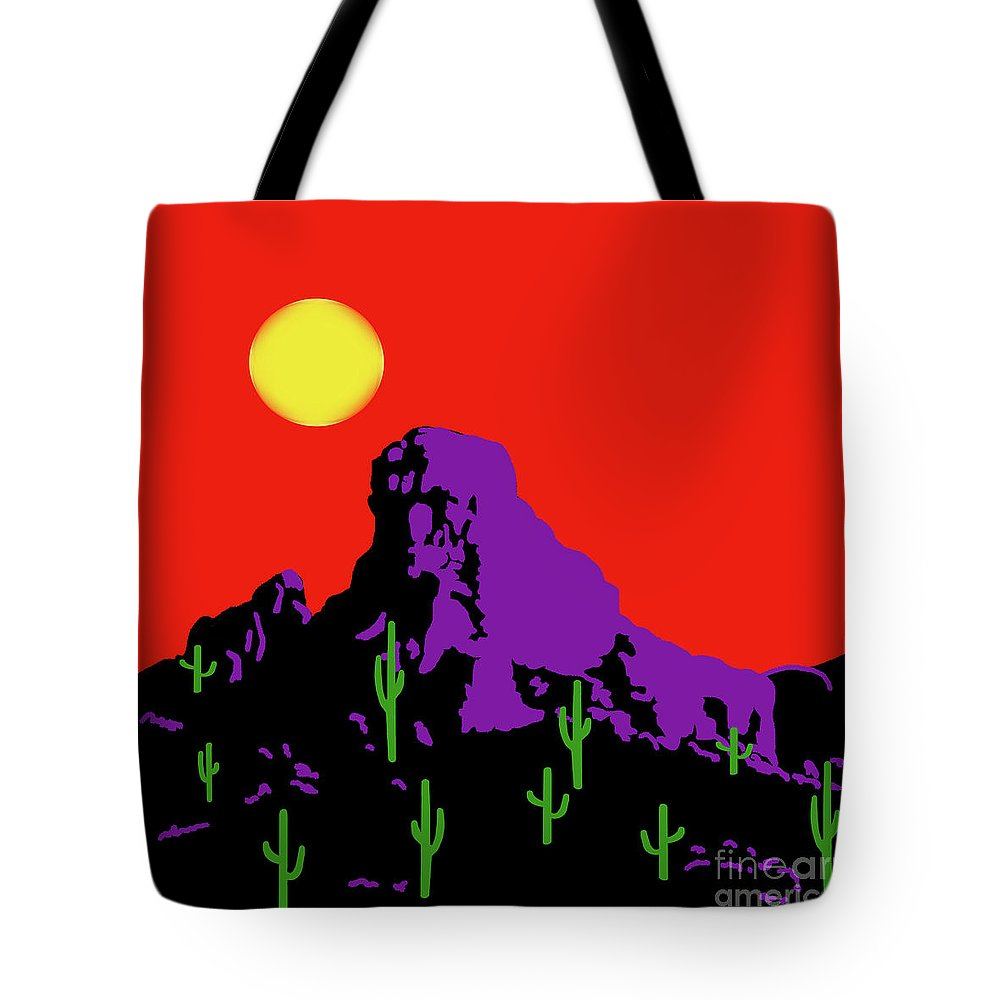 Scottsdale Mountain Tote Bag featuring the painting Scottsdale Mountain by Methune Hively