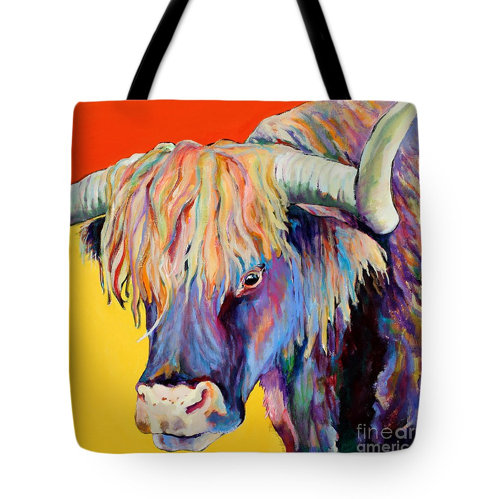 Farm Animal Tote Bag featuring the painting Scotty by Pat Saunders-White
