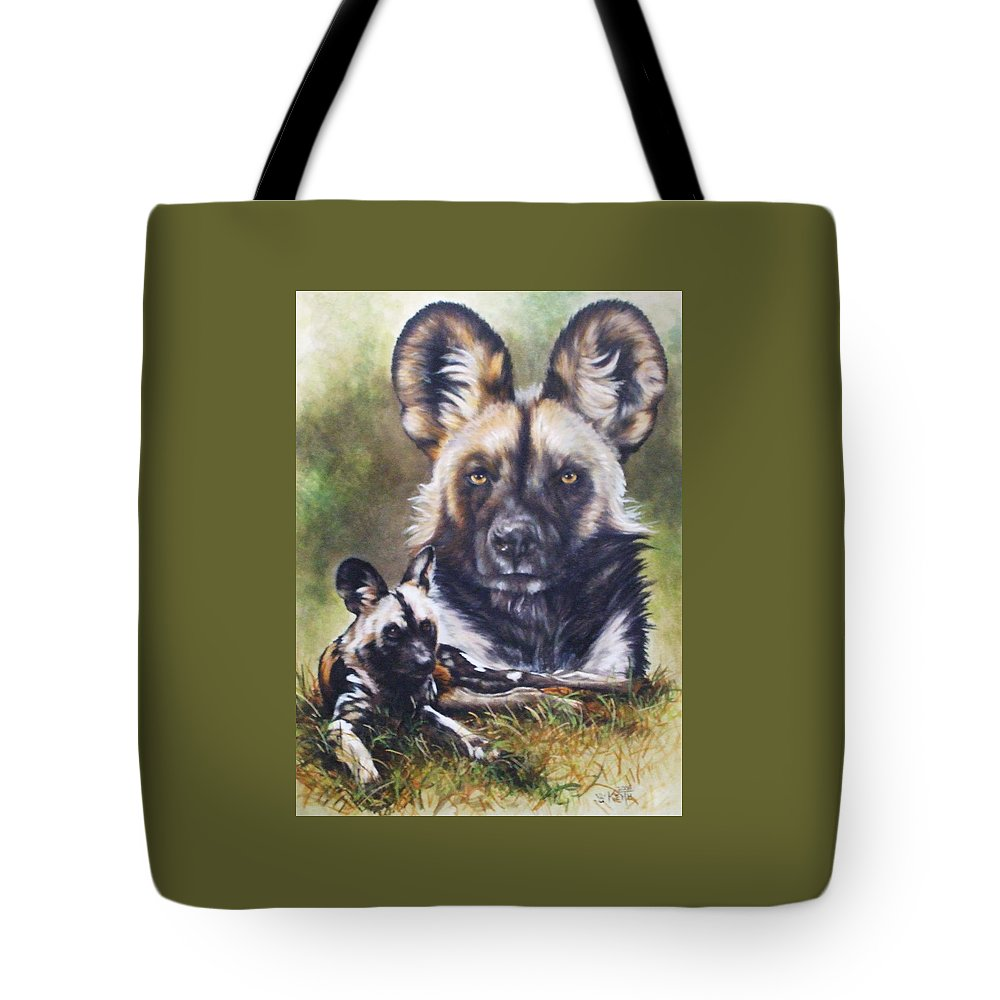 Wild Dogs Tote Bag featuring the mixed media Scoundrel by Barbara Keith