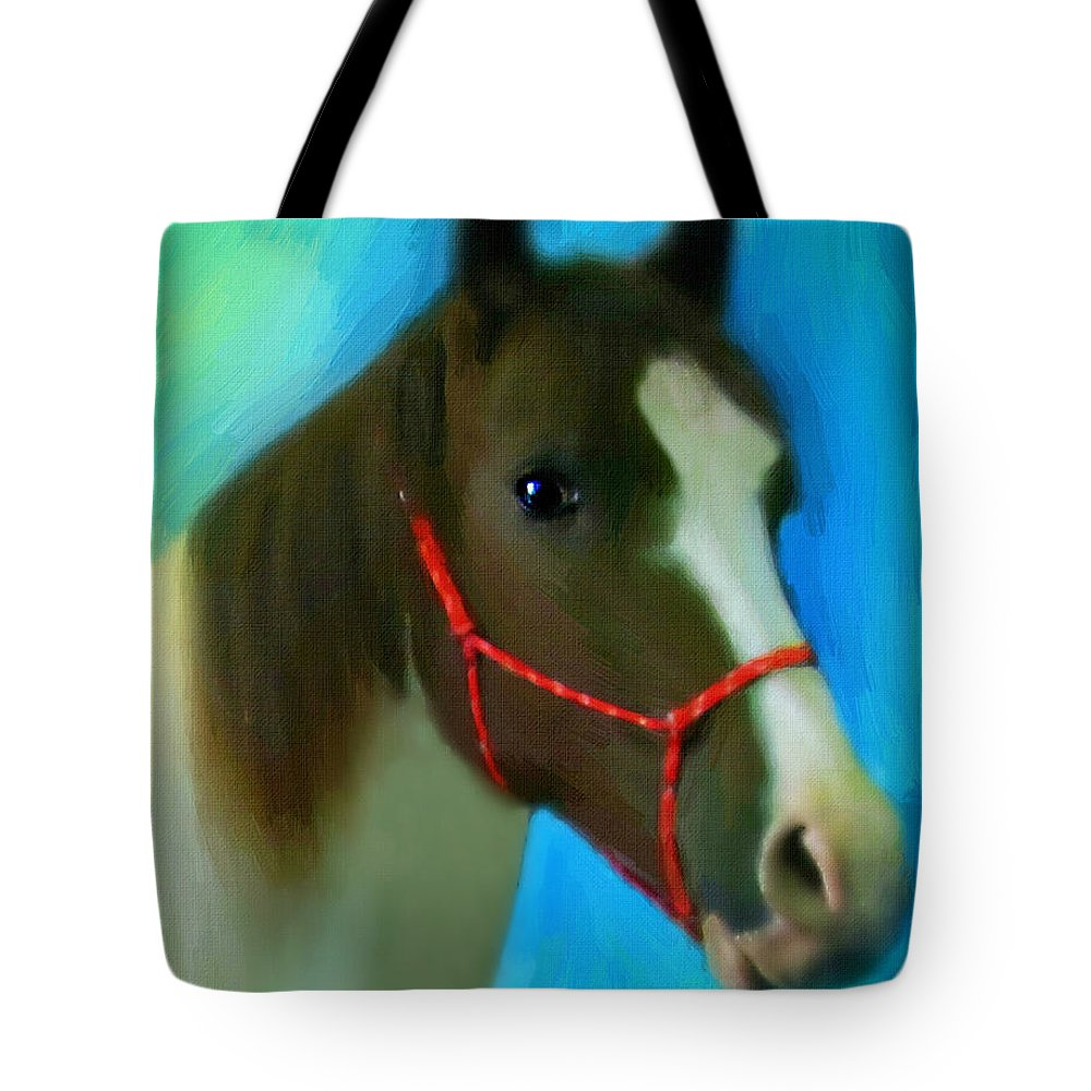 Horse Tote Bag featuring the digital art Scout by Belinda Rose