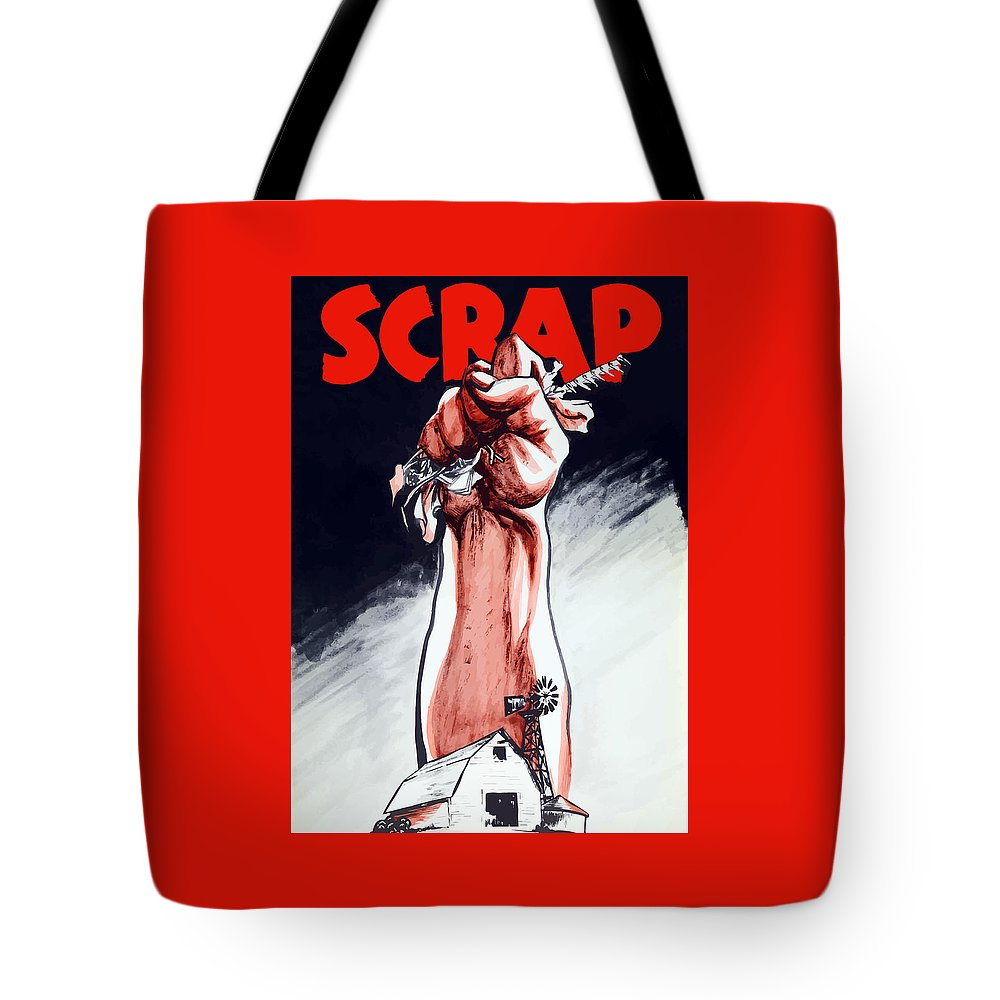 World War Ii Tote Bag featuring the painting Scrap - Ww2 Propaganda by War Is Hell Store