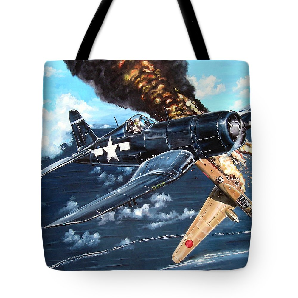 Military Tote Bag featuring the painting Scratch One Betty by Marc Stewart