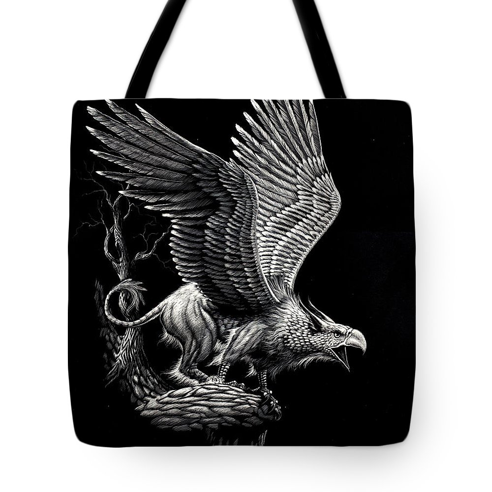 Griffon Tote Bag featuring the drawing Screaming Griffon by Stanley Morrison