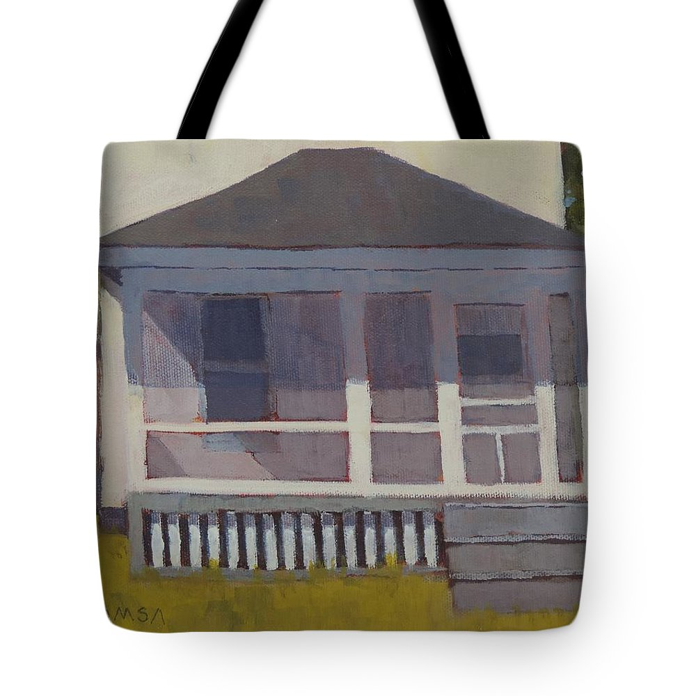 Plein Air Tote Bag featuring the painting Screened Porch - Art By Bill Tomsa by Bill Tomsa