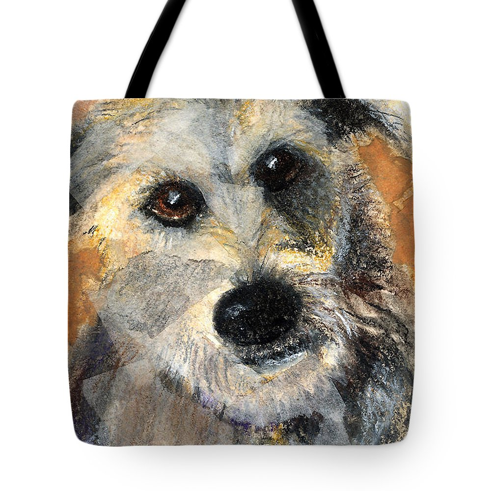 Dog Tote Bag featuring the mixed media Scruffy by Arline Wagner
