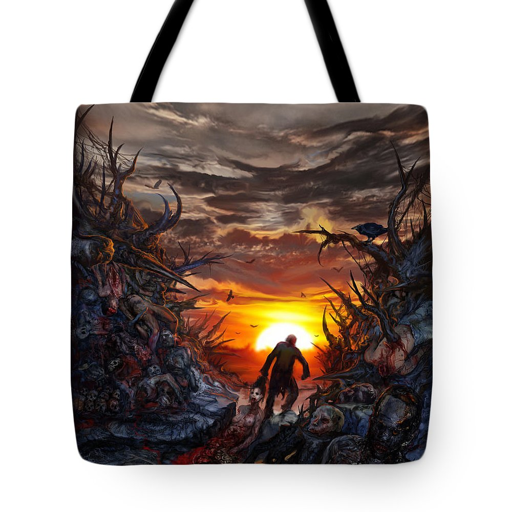 Tony Koehl: Death Metal: Sketch The Soul Tote Bag featuring the mixed media Sculpted In Sufferance by Tony Koehl