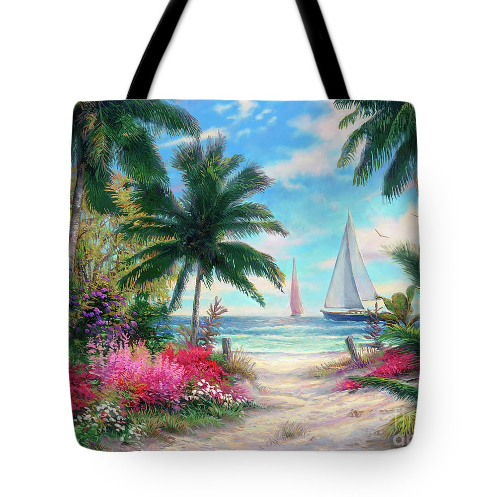 Tropical Tote Bag featuring the painting Sea Breeze Trail by Chuck Pinson